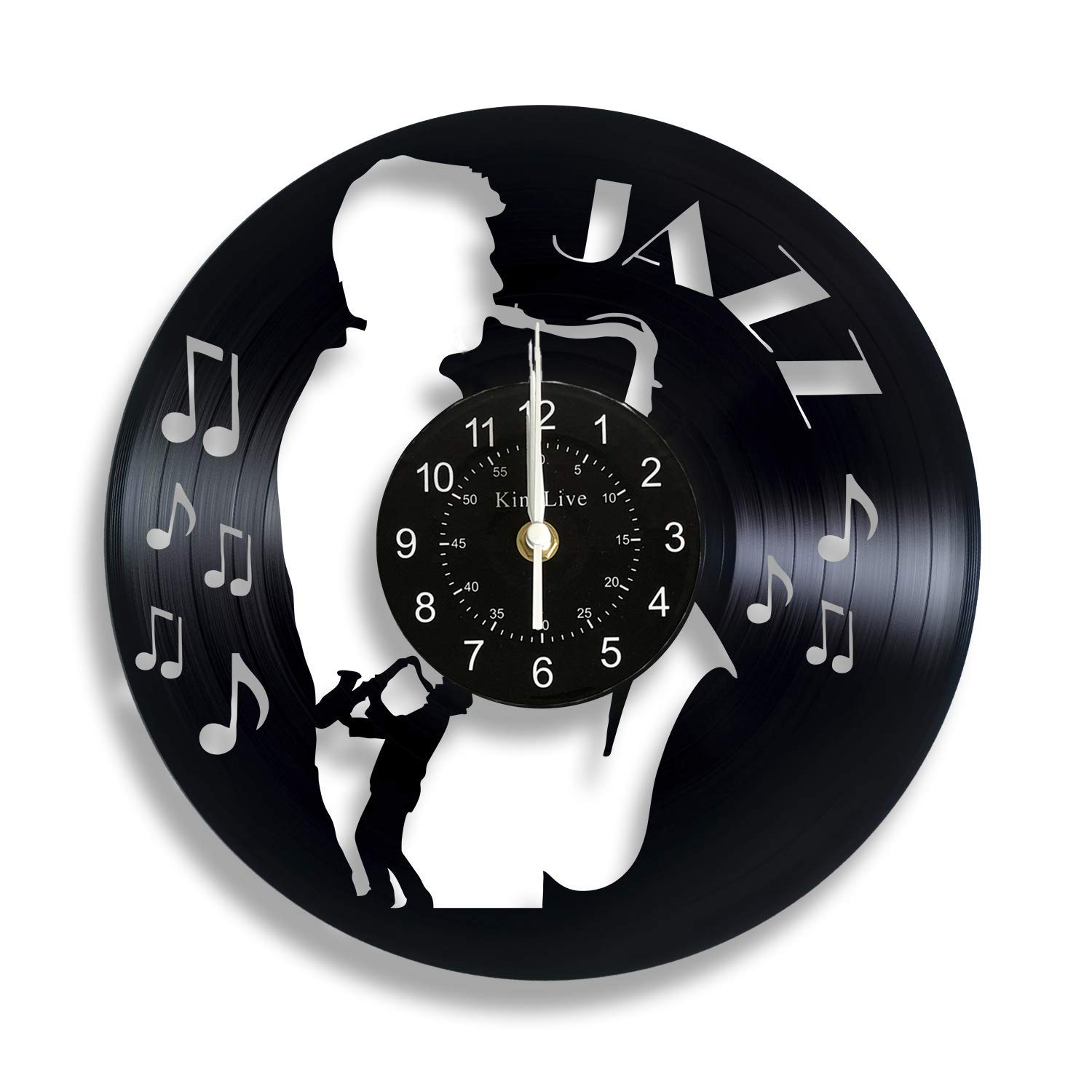 Music Jazz Saxophone Player Vinyl Record Wall Clock Home Interior Living Room Bedroom Office Recording Studio Decor Gift for Him Musicians Father Friend