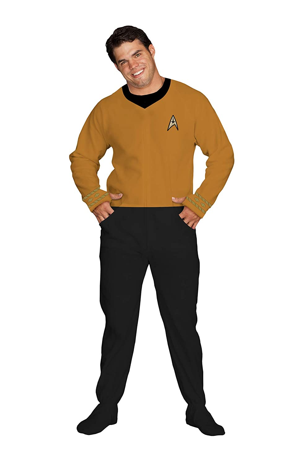 4de214acd08a Amazon.com  Star Trek Footed Onesie Adult Pajamas Command Gold  Clothing