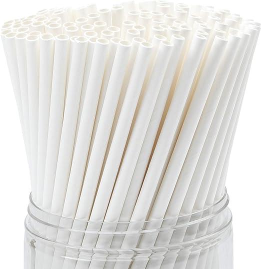 Keriber 350 Pajitas de Papel Blanco Biodegradables Pajita de Beber ...