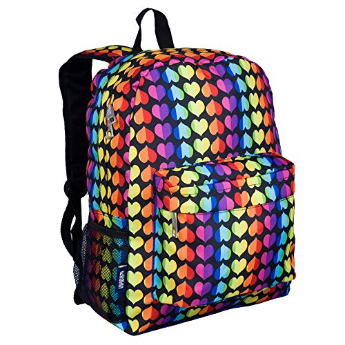 Wildkin 16 Inch Backpack, Durable Backpack with Padded Straps, Front Pocket, Moisture-Resistant Lining, and Two Mesh Side Pockets, Perfect for School or Travel - Rainbow Hearts]()