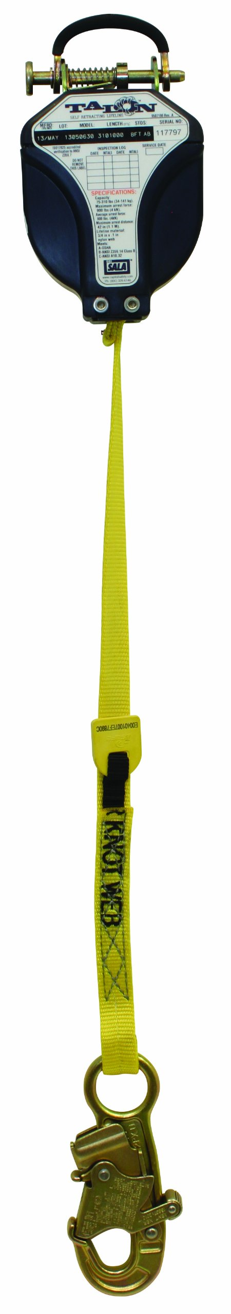 3M DBI-SALA Talon 3101000 Fall Protection SRL, 8', 1'' Nylon Web, Snap Hook and Quick Connector for Harness Mounting, Blue/Yellow