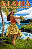 Aloha - Hawaii Hula Girl on Coast (24x36 SIGNED Print Master Giclee Print w/ Certificate of Authenticity - Wall Decor Travel Poster)