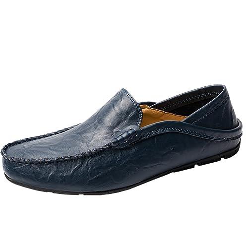 SPEEDEVE Verano Mocasines de Cuero de Moda Para Hombre Slipper Negro/Marrón/Azul: Amazon.es: Zapatos y complementos