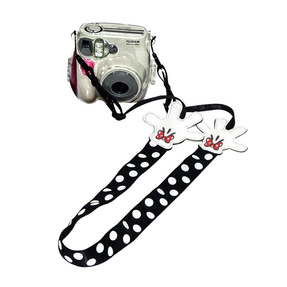 Eleshroom Instant Camera Strap, Cute Neck Shoulder Strap Belt for Fujifilm Instax Mini 25/ Mini 50/ Mini 7/ Mini 8/ Mini 90, Polaroid Socialmatic, Digital Camera Canon Nikon Samsung (White/Black Dots)