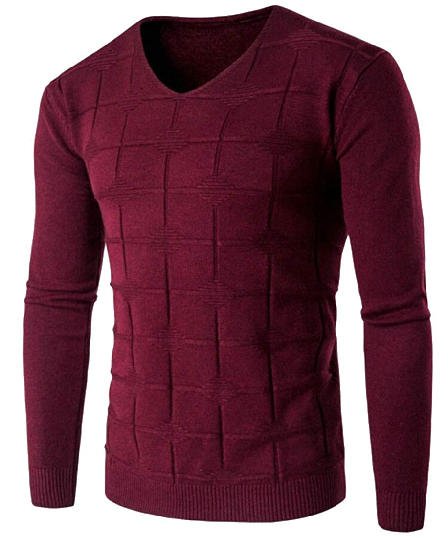 Yayu Mens Solid Color Slim Fit V-Neck Knit Pullover Sweater