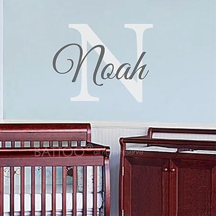 5838a9b18411b Amazon.com: BATTOO Nursery Wall Decals Custom Name Monogram Wall ...