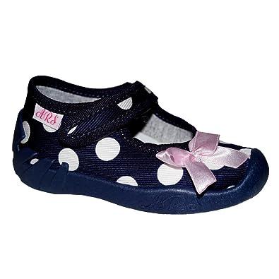 9767e1d7255011 ARS Baby Mädchen Kinder Hausschuhe Ballerinas Kinderschuhe Leder  Einlegesohlen Blau Punkte Schuhgröße EUR 20