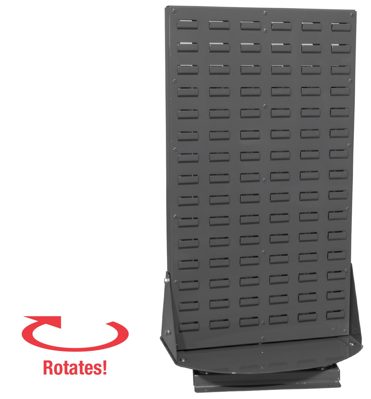 Akro-Mils 98318GY Powder Coated Steel Double Sided Louvered Panel Benchtop Spinner Rack for Akro Hanging Bins