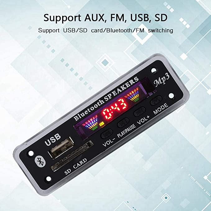 DC 5V / 12V Bluetooth 5.0 Tarjeta de decodificación de Audio Módulo de Audio USB AUX SD Radio FM Sin pérdida de MP3 / WMA/WAV/FLAC/Ape Módulo de ...