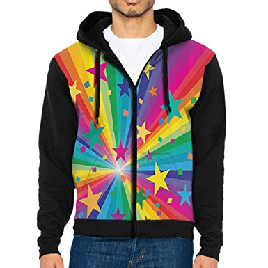 8fefeb6e8 Amazon.com: Women's Long Sleeve Hoodie Sweatshirt Rainbow and Stars  Confetti Rays Print Pullover Shirt Blouse: Clothing