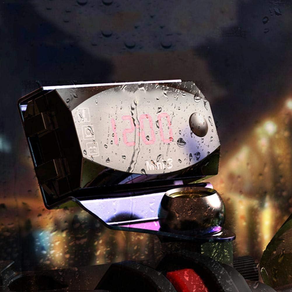 Meetforyou Thermom/ètre /électronique dhorloge de Moto voltm/ètre 6V-30V Trois-en-Un IP67 /étanche /à la poussi/ère avec Affichage num/érique Universel /à Grand /écran LED