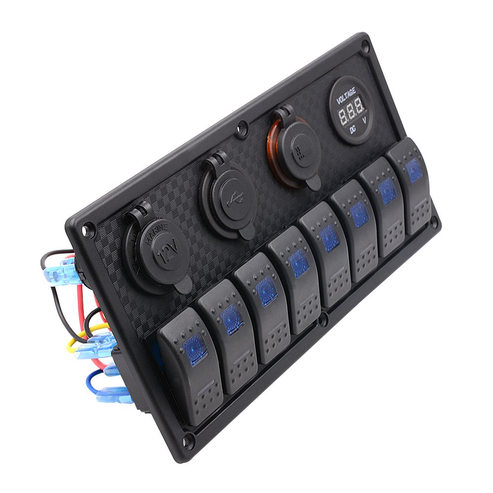 Bluefire Waterproof 8 Gang Led Rocker Switch Panel With 12v 12 Way Marine Non Illuminated Circuit Breaker Amazonco Cigarette Lighter Socket Digital Voltmeter 2 Usb Power Charger Adapter Blue Light
