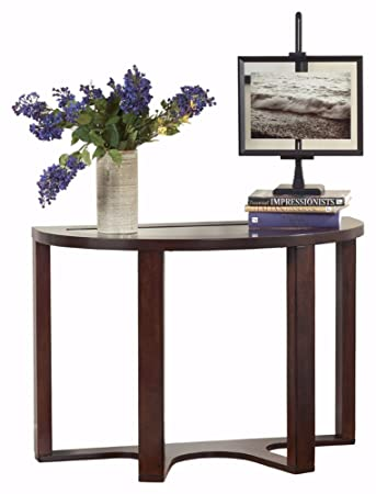 Ashley Furniture Signature Design - Marion Sofa Table - Contemporary Style  - Entertainment Console Table - Semi Circle - Dark Brown with Glass Top