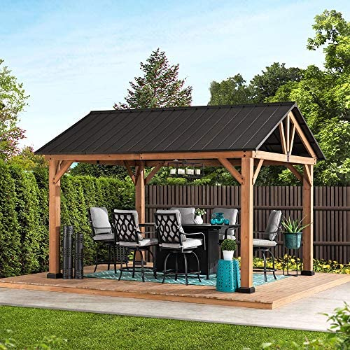 Sunjoy A102008001 Helena Collection 10×12 ft. Cedar Framed Gazebo