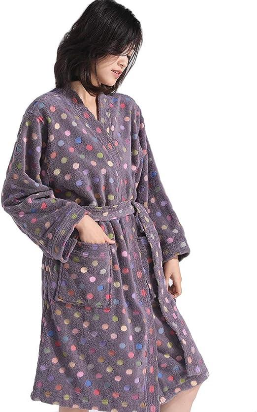 ClothHouse Albornoz con Capucha para Mujer En Algodón Jacquard - 100% Algodón De Alta Absorción - Cuello Kimono De Lunares Patrón De Efecto Elegante, Bolsillo Delantero Y Cinturón,Púrpura,L: Amazon.es: Hogar