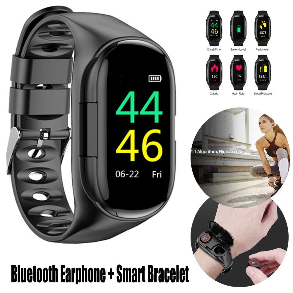 yunbox299 Smart Watch Bracelet + Bluetooth Earphone, 2 in 1 - IP67 Waterproof - Step Counting Heart Rate Sports Smart Watch Bracelet for Android iOS Cellphone Black