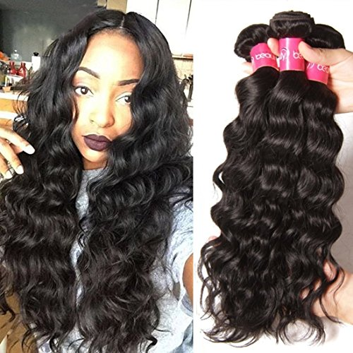 Longqi 6a Unprocessed Brazilian Virgin Hair Natural Wave Pack of 3 Cheap Wavy Human Hair Bundles Deal (16 18 20inch, Natural Color)