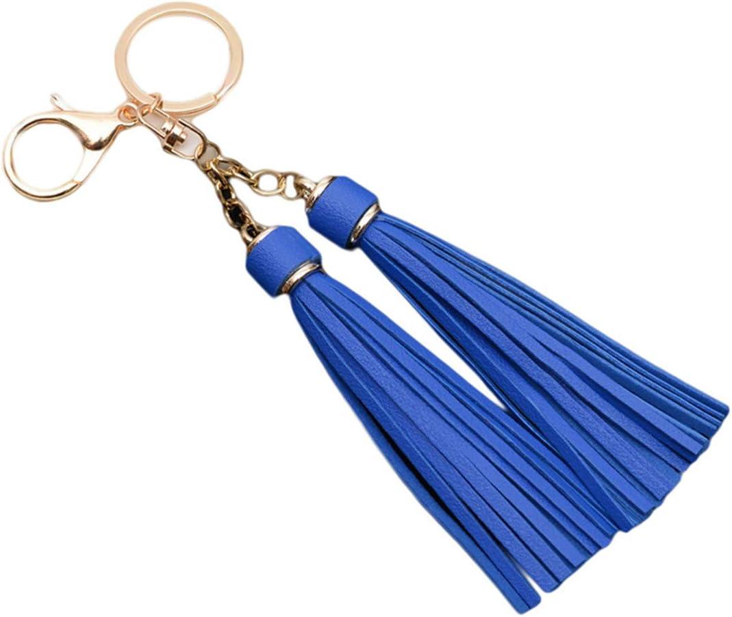 Winwinfly Leather Tassels Key Chain Women Keyrings for Handbag Wallet Purse Gift,Red