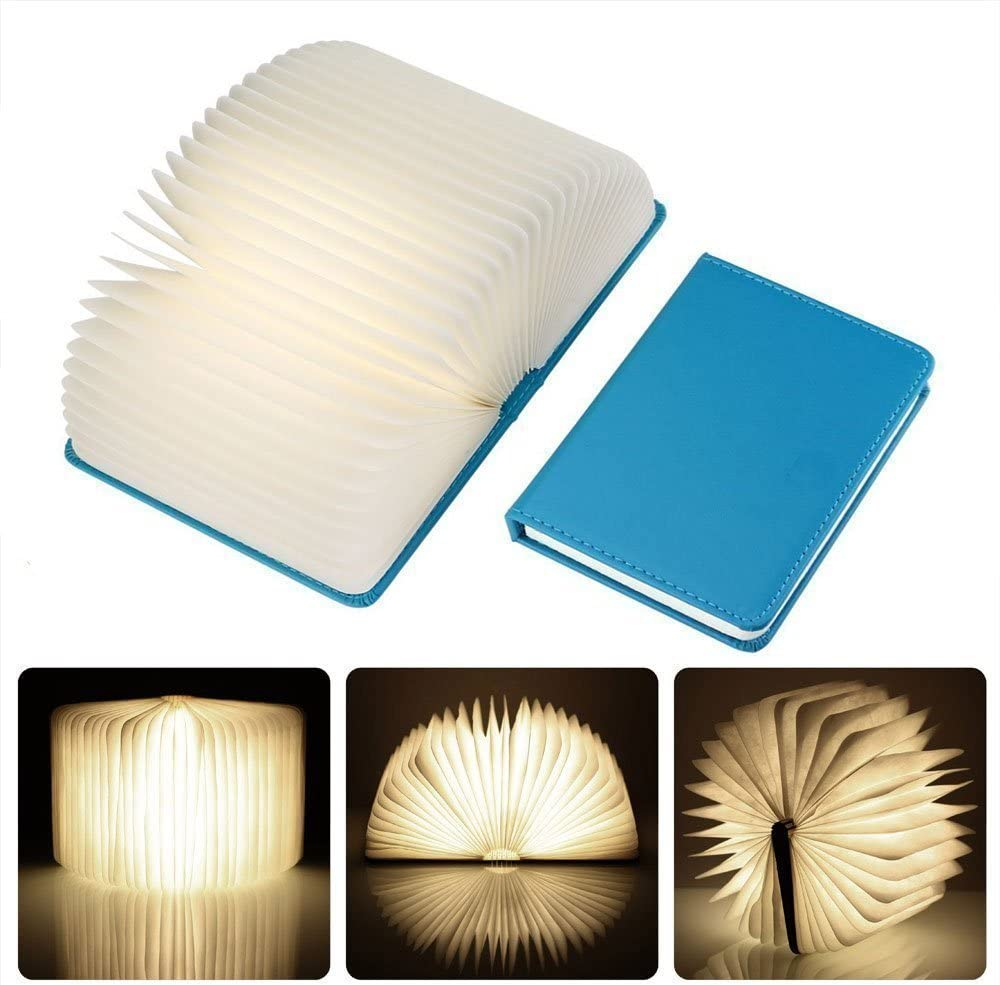 Birthday Gift S, blue Creative Four-color Page Book Lamp Folding Portable LED Book Light USB Rechargeable Magnetic Nightlight Booklight Decoration Bedside Lamp Book-shaped Desk Lamp Open the Cover to Enjoy 4 Color Changing LED Illumination
