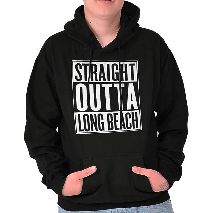 Straight Outta Long Beach, CA ciudad Movie T Shirts Ideas de regalo sudadera con capucha sudadera - negro - : Amazon.es: Ropa y accesorios