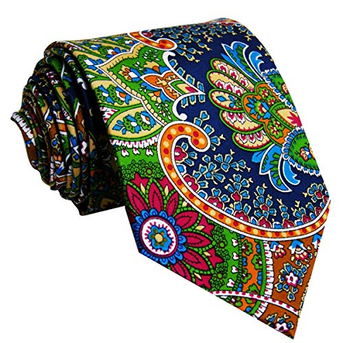 SHLAX&WING Extra Long Mens Ties Neckties Paisley Multicolor Red Green Yellow Silk 63 inches
