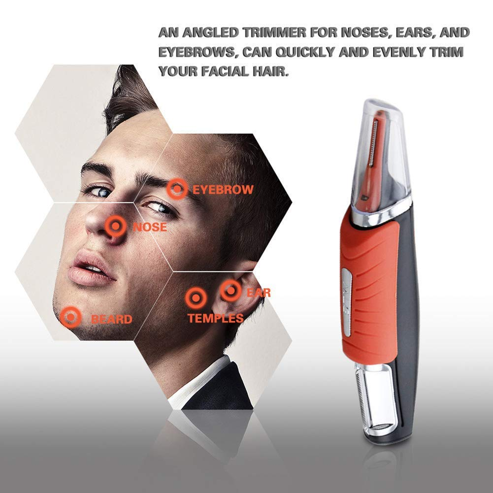 Wszs Man 2 in 1 Hair Touch Hair Trimmer Razor Dual End Trimmer Clipper Grooming Remover Anti-Slip Handle with LED Light Orange