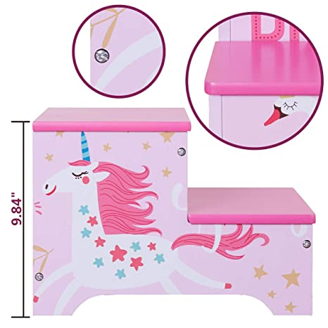Wondrous Amazon Com Toffy Friends Kids Pink Wooden Step Stool With Beatyapartments Chair Design Images Beatyapartmentscom