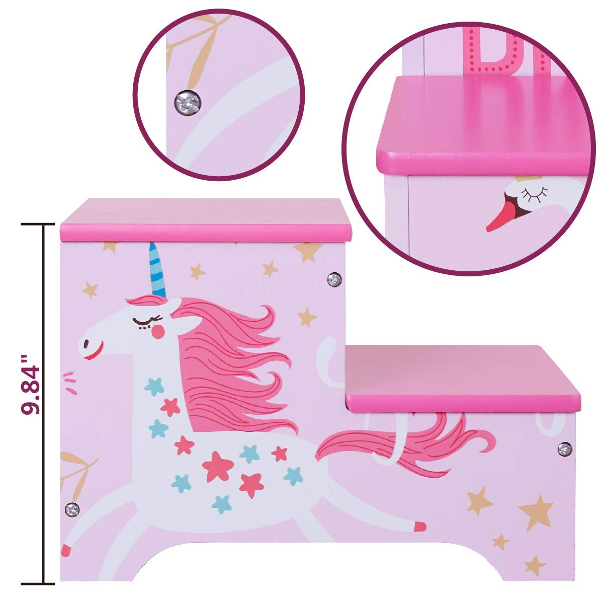 Toffy & Friends Kids Pink Wooden Step Stool with Storage,Children's Furniture Two-Step Stool Environmentally Friendly UV Paint Non-Toxic Lead Free (1 Piece)