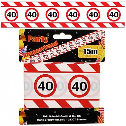 Cumpleaños Cordón de seguridad 40 años Fiesta Decoración Señal de tráfico Longitud 15 M