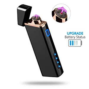Lighter, Electric Arc Lighter USB Rechargeable Windproof Flameless Lighter Plasma Lighter with Battery Indicator (Upgraded) for Fire, Cigarette, Candle - Outdoors Indoors