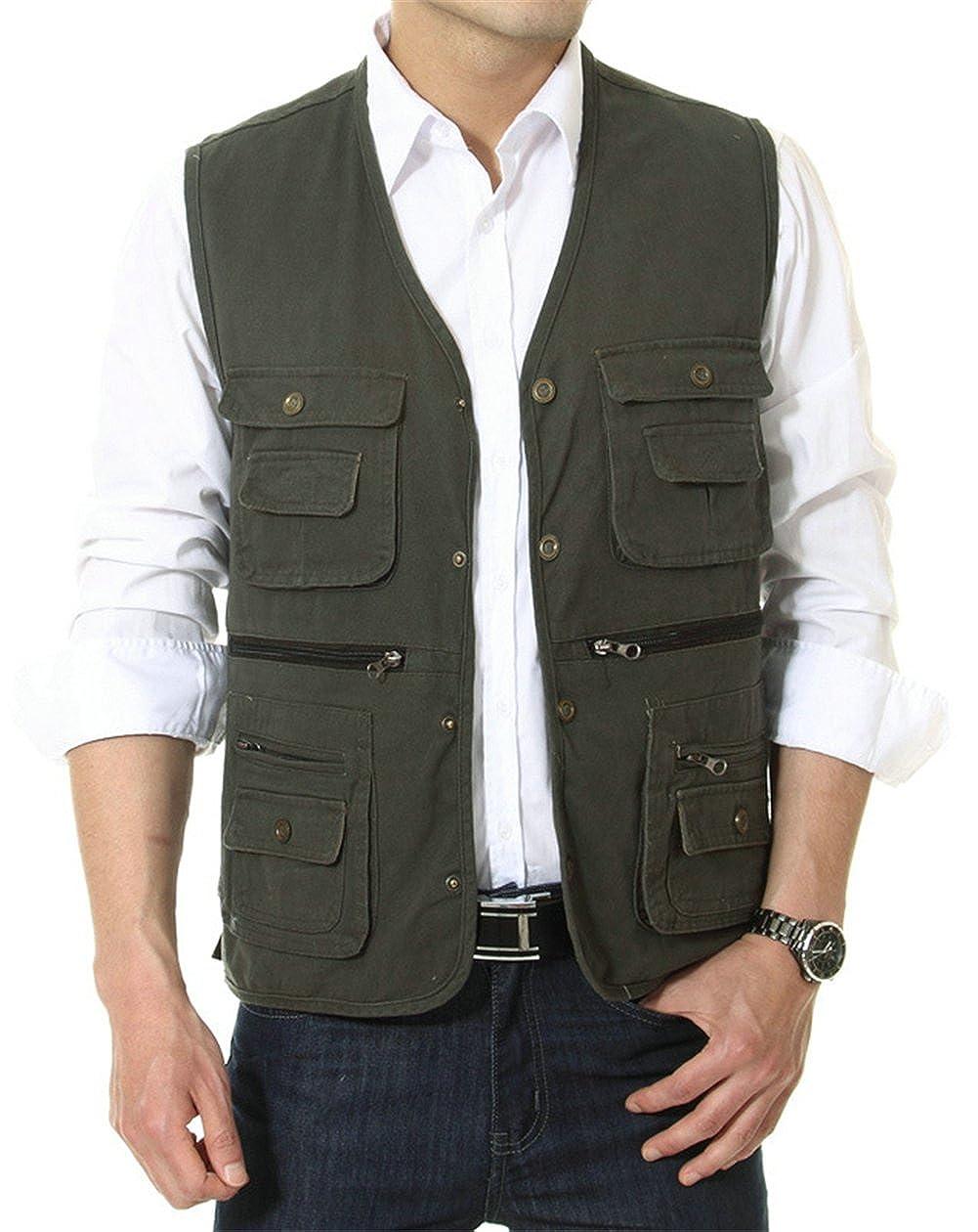 TALLA CN XL / US S. APTRO chaleco 100% algodón con varios bolsillos para hombre