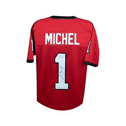 9a24661b8 Image Unavailable. Image not available for. Color  Sony Michel Autographed Georgia  Bulldogs Custom Red Football Jersey ...