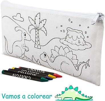 Estuches para Colorear diseño Dinos, Lote de 30 Estuches Infantiles con 4 Ceras Cada Estuche. Regalos para los niños en Fiestas Infantiles, cumpleaños, colegios, Eventos Infantiles: Amazon.es: Juguetes y juegos