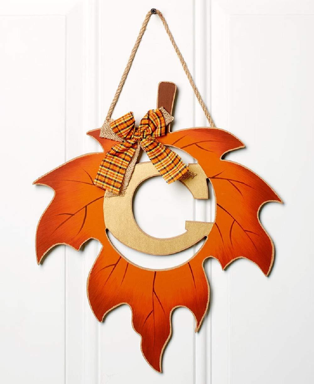 ginsengstone Harvest Leaf Monogram Letter C, Door Hanger Fall Thanksgiving Seasonal Home Decor