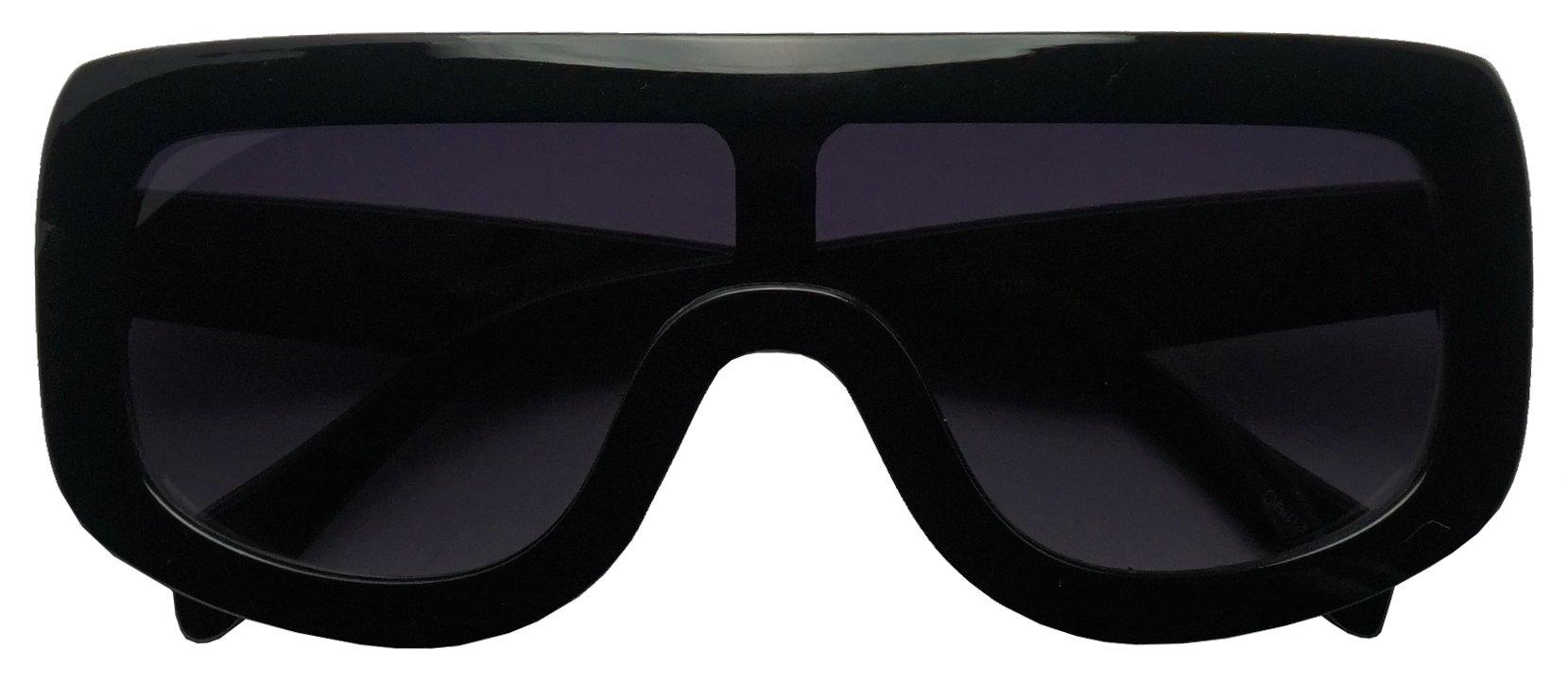 Large Oversized Full Shield Squared Bold Flat Top Sunglasses Retro goggle Shades (Black, 75)