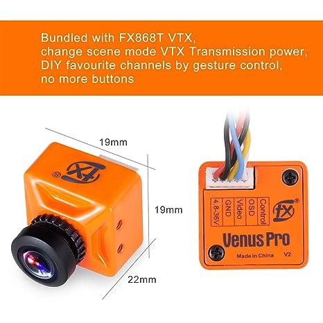 FPV Cámara 800TVL Lente 2.1mm NTSC / PAL 16: 9/4: 3 160 grados intercambiables con transmisor FPV 37CH 5.8G Nano VTX ajustable con Smart Audio Combo Control ...