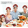 UNOMOR 2 PCS Handmade Turkey Headband for Thanksgiving Day, Turkey Trot, Family Party Costume Accessories from UNOMOR