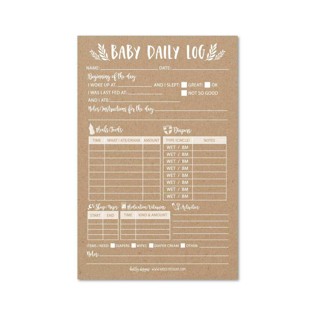 Nanny Newborn Baby or Toddler Log Tracker Journal Book, Daily Schedule Feeding Food Sleep Naps Activity Diaper Change Monitor Notes, Essential Supplies for Daycare, Babysitter, Caregiver, 50 Sheet Pad