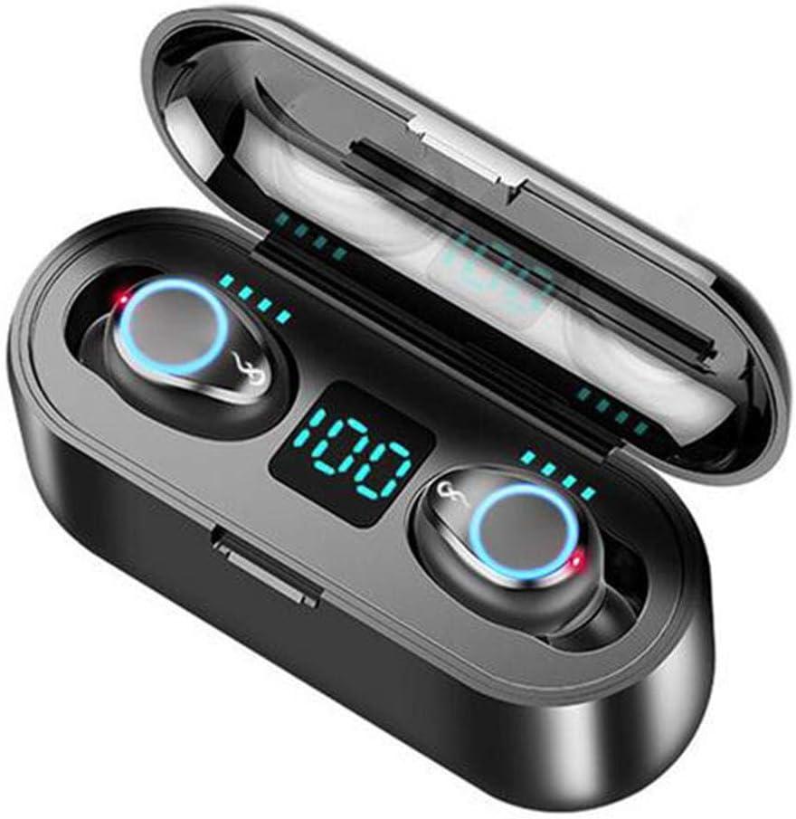 Jinclonder 2019 Los más nuevos Auriculares inalámbricos Bluetooth F9 TWS 5.0, Pantalla Digital de luz Respirable Touch 8D Surround estéreo Mini Invisible Auriculares con micrófono Dual
