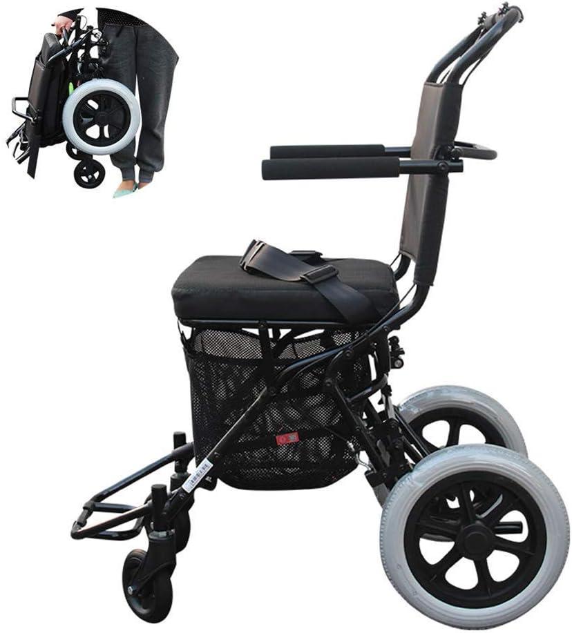 TWL LTD-Wheelchairs Andador Estándar, Andador de Movilidad Plegable con Ruedas de 10 'Y Asiento Asiento Compacto Y Liviano para Adultos