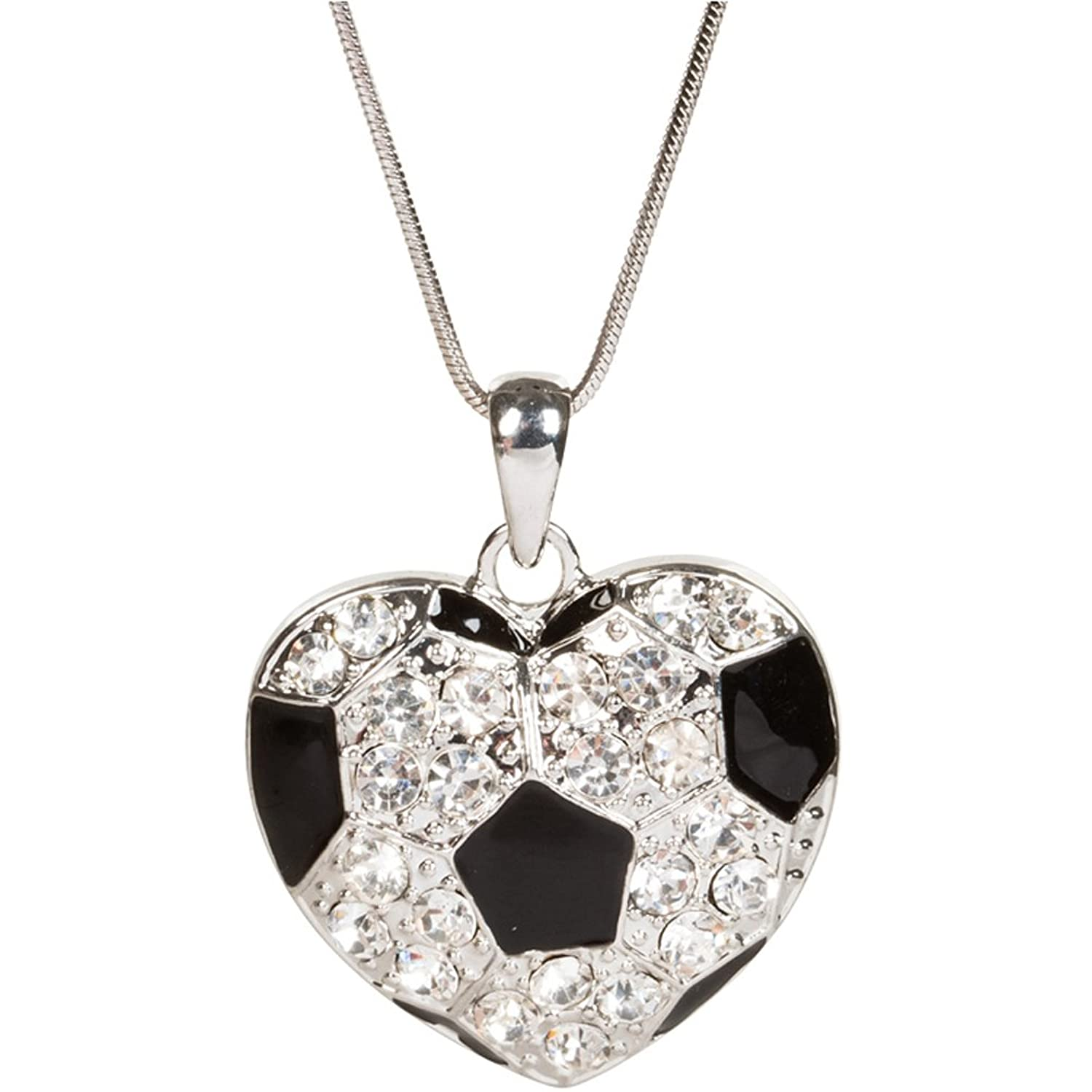 Amazon heirloom finds heart shaped crystal soccer ball amazon heirloom finds heart shaped crystal soccer ball pendant necklace jewelry mozeypictures Image collections