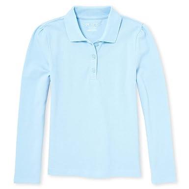 The Children/'s Place Girls/' Uniform Long Sleeve Polo White 43864 Medium//7//8