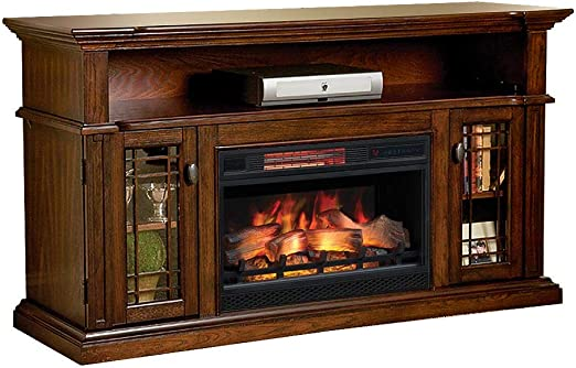 Amazon Com Chimneyfree Wallace Infrared Electric Fireplace Entertainment Center In Empire Cherry 26mm1264 Epc Home Kitchen