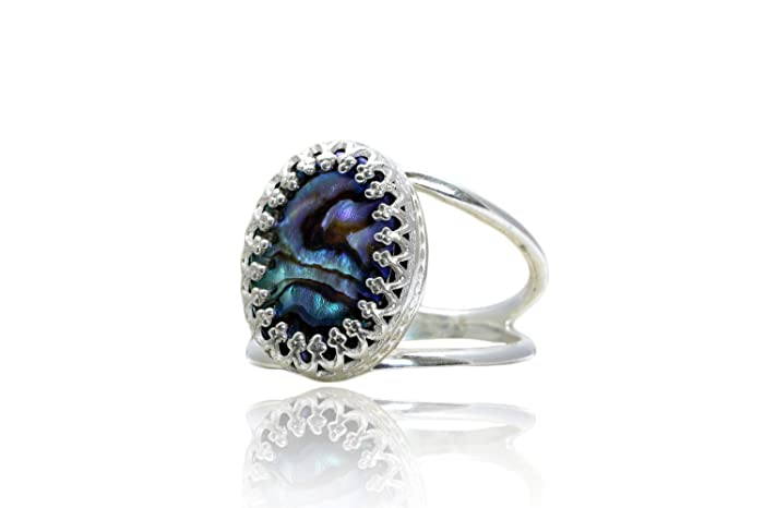 05e04aa7b5e Amazon.com: Anemone Jewelry Healing Ring - Natural Abalone Shell in ...