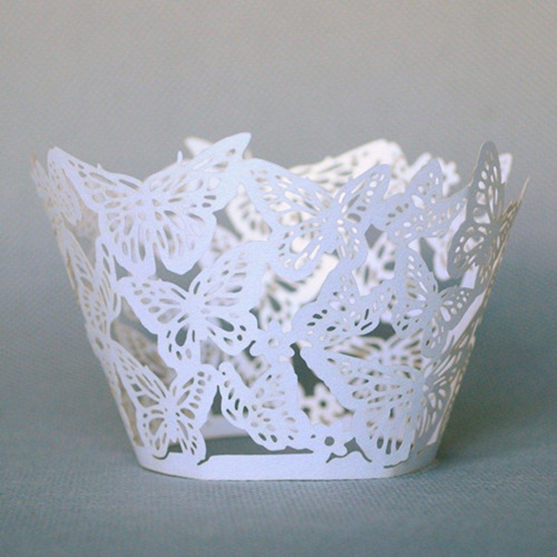 joyliveCY 12st Wolke Design Style Pearly Papier Vine Spitze Cup Cake Wrappers Dekoration Joyshop