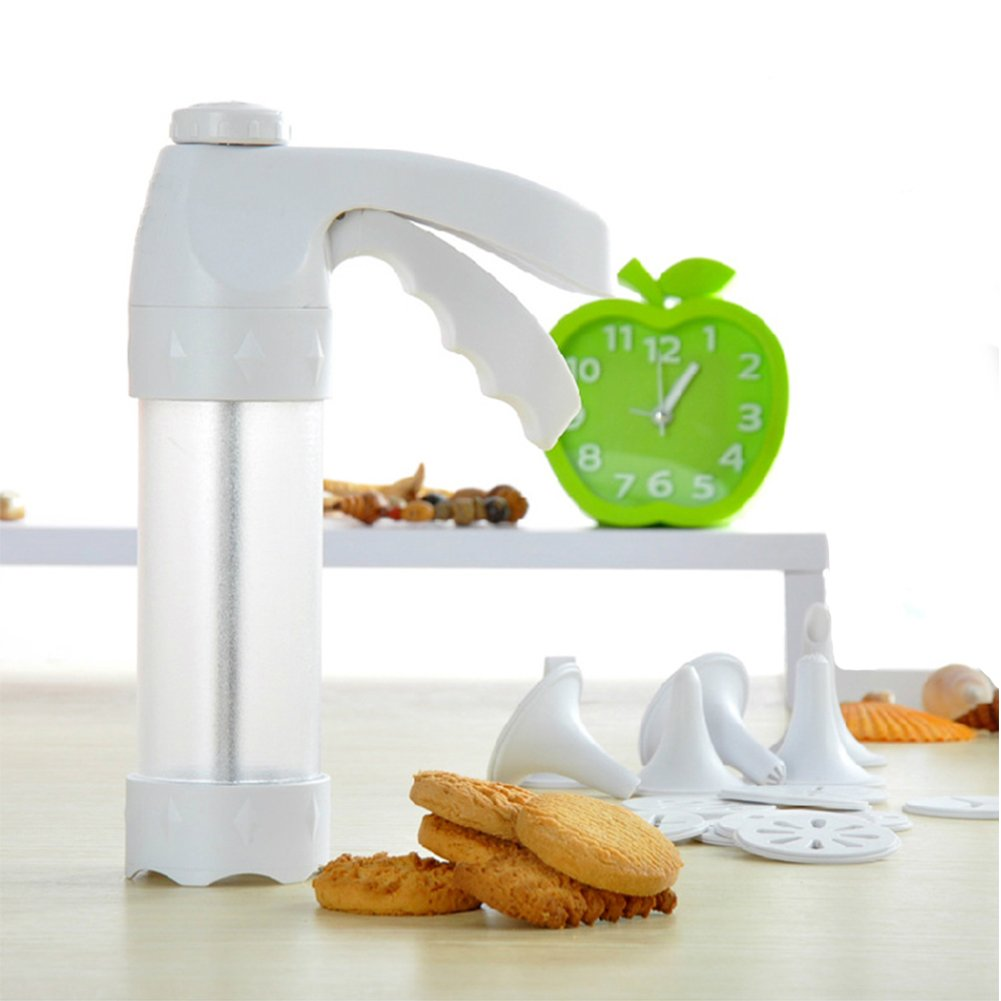 Cookie Press Kit, Biscuits Cookie Molds Gun ,Food grade Plastic Cookie Gun Set with 12 Discs and 6 Icing Tips