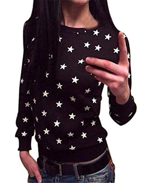 AILIENT Casual Mujer Camisetas Manga Larga Básico Ropa Moda Cuello Redondo Slim Fit Sueter Jersey Impresa