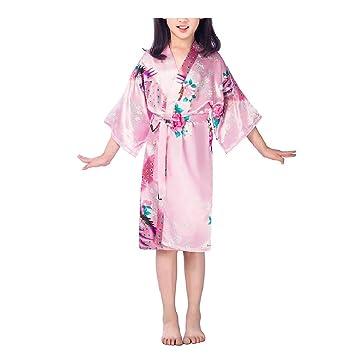 Tinksky Kimono Robe Niños Niñas Ropa De Dormir Pijamas De Pavo Real para Spa Party boda cumpleaños - tamaño 4 (rosa): Amazon.es: Hogar