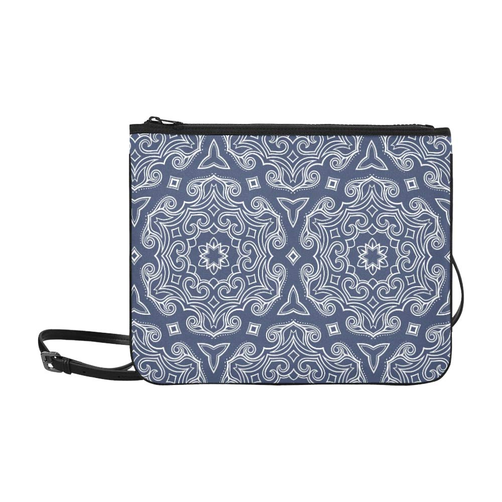 2e1e097da5b6 Dark Blue Graceful Retro Floral Pattern Pattern Custom High-grade Nylon  Slim Clutch Bag Cross-body Bag Shoulder Bag  Handbags  Amazon.com