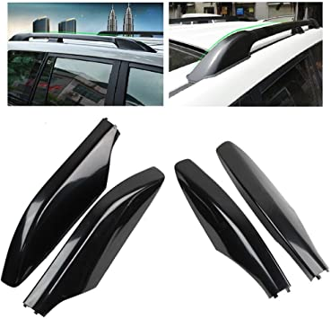 Black Roof Rack Rails End Cover Shells 4pcs for Land Cruiser Prado FJ120 2003-09